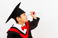 Chinese Graduation Boy Finding a Job Royalty Free Stock Images