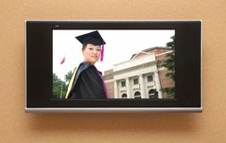 Chinese graduation on TV stock photo