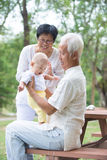 Chinese grandfather and grandmother playing Royalty Free Stock Images