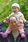 Chinese grandpa and baby Royalty Free Stock Image