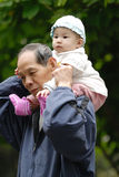 Chinese grandpa and baby Royalty Free Stock Photo