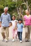 Chinese Grandparents In Park With Grandchildren Royalty Free Stock Image