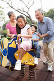 Chinese Grandparents Playing With Grandchildren Stock Images