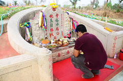 Chinese grave at The Qingming Festival Time in Ratchaburi Thailand. Qingming Festival is when Chinese people visit the columbarium, graves or burial grounds to Royalty Free Stock Images