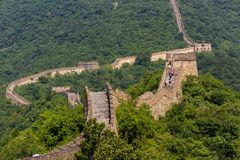 Chinese Great Wall. Great Wall of China, Mutianyu section, located nearby Beijing city stock photo