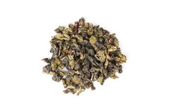 Chinese green oolong tea isolated on white, top view Royalty Free Stock Image