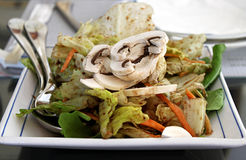 Chinese Green Salad. A plate of Chinese green salad with various vegetables and mushroom Stock Photography