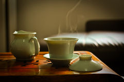 Chinese Green Tea. One group photos of Chinese tea cup and tea sets stock photo