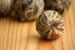 Chinese green tea balls with jasmine flowers Royalty Free Stock Image