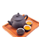 Chinese green tea clay pot and cups Stock Photo