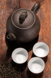 Chinese green tea pot and cups Stock Photos