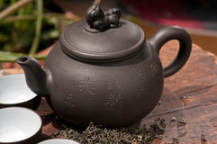 Chinese green tea pot and cups Stock Photo