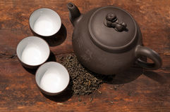Chinese green tea pot and cups Royalty Free Stock Photos