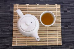 Chinese green tea and teapot Royalty Free Stock Image