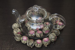 Chinese green tea in a transparent teapot. Stock Photography