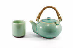 Chinese green teapot and teacup isolated Stock Image