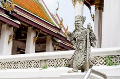 The chinese guardian angry statue in thai temple Stock Images