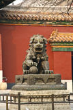 Chinese guardian lion. Bronze Guardian Lion Statue outside the Yonghe Temple, Beijing, China Royalty Free Stock Images
