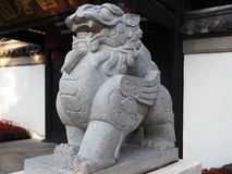Chinese Guardian Lion Sculpture royalty free stock image