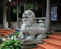 Vietnamese Guardian Lion. Chinese guardian lions or Imperial guardian lions, often miscalled `Foo Dogs` in the West, are a common representation of the lion in stock photography