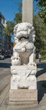 Chinese guardian lions. Or Imperial guardian lions, traditionally known in Chinese simply as Shi .De La Gauchetière Street Chinatown in Montreal, Quebec Royalty Free Stock Photos