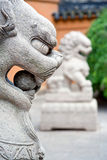 Chinese guardian lions. Chinese stone guardian lion in front of temple's entrance Royalty Free Stock Images