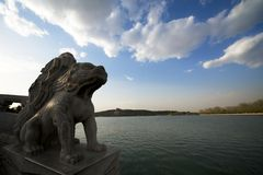 Chinese guardian lions in the Summer Palace. The Chinese guardian lions in the Summer Palace Royalty Free Stock Photo