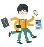 Chinese guy with multitasking job Stock Photography