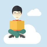 Chinese guy reading a book Stock Image
