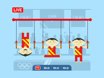 Chinese gymnasts on rings Royalty Free Stock Photo
