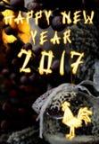 Chinese Haan 2017 Nieuwe Year& x27; s ontwerpachtergrond Stock Foto's