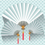 Chinese hand fan. Vector illustration Royalty Free Stock Photo