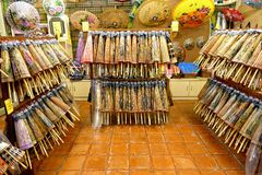 Chinese Hand-Made Oil-Paper Umbrellas Are Sold In A Store Royalty Free Stock Photo