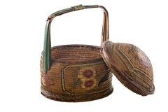 Chinese handmade rattan basket with flower paint Stock Images