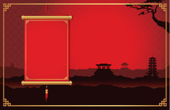 Chinese hanging on China scene background. Red Chinese hanging not have text front of China scene background decorate with China style frame stock illustration