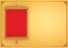 Chinese hanging on gold background. Red Chinese hanging not have text front of gold background decorate with China style frame Stock Photography