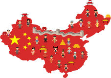 Chinese happy cartoon people. China map with Chinese happy cartoon people Royalty Free Stock Photography