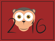 Chinese Happy New year with cartoon Monkey head. The year of monkey 2016 Chinese New year with cartoon Monkey head, vector celebration card on red background vector illustration