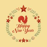 Chinese happy new year design. Happy new year card with decorative wreath of leaves with rooster icon over yellow background. colorful design. illustration vector illustration
