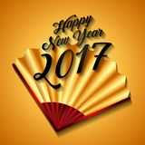 Chinese happy new year design. Happy new year card with chinese fan icon over yellow background. colorful design. illustration vector illustration