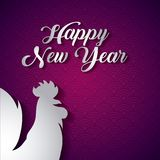 Chinese happy new year design. Happy new year card with rooster icon over purple background. colorful design. illustration royalty free illustration