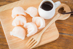 Chinese har gao dim sum dumplings on wooden plate Stock Photo