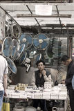 Chinese hawker in Hong Kong stock photography