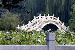 Chinese Hebei Baoding ancient lotus pond Wan Hongqiao. Wan Hongqiao is according to shape period palace was rebuilt in 1975, made of white marble. The arc, tall stock photo