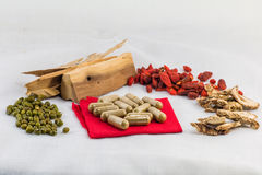 chinese herb and chinese herb capsule in concept from herb to ca Royalty Free Stock Photography