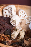 Chinese herb for soup. Chinese soup collection of various herbs royalty free stock photography