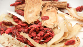Chinese herb and spice for medical soup preparation Stock Images