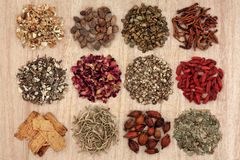 Chinese Herbal Health. Chinese herbal medicine selection over papyrus background Stock Photos