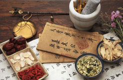 Chinese Herbal Medicine And Tea Set Stock Photos