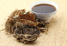 Chinese herbal medicine with ingredient stock photos